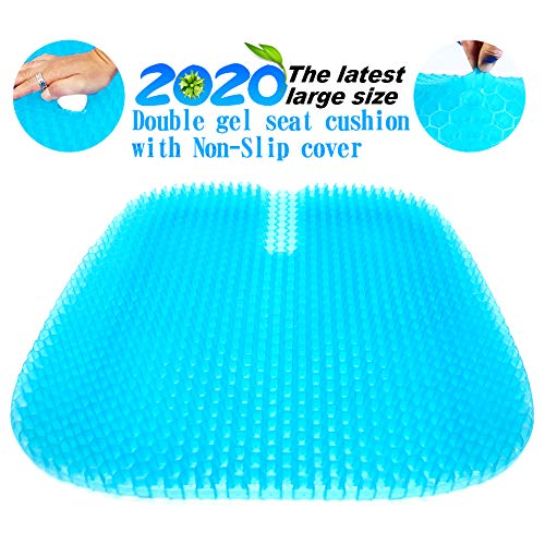 Gel Seat Cushion, 2020 the Latest Large Size Honeycomb Design Cushion Double Thick Seat Cushion with Non-Slip Cover Super Breathable Gel Cushion for Back Painr Home Office Chair Car Wheelchair