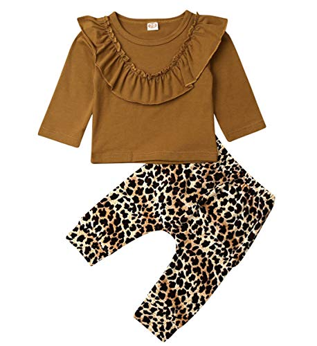 Peuter Kids Baby Meisje Casual Outfits Lange Mouw Ruches Effen Tops Luipaard Blouse Broek Kleding Set