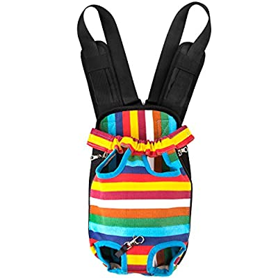 GEEPET Legs Out Front-Facing Dog Carrier Hands-Free Adjustable Pet Puppy Cat Backpack Carrier for Walking Hiking Bike and Motorcycle (Small, Colorful Strips)