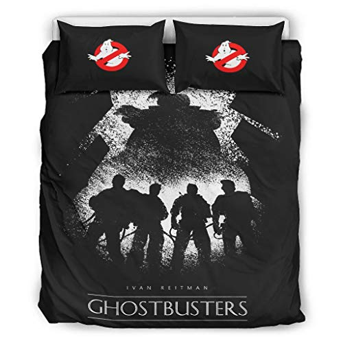 Hothotvery Ghostbusters 3-Piece Bedding Set Printed Flowers 3-Piece Bedding Set Christmas Quilt Cover and Pillow Shams White 168 x 229 cm