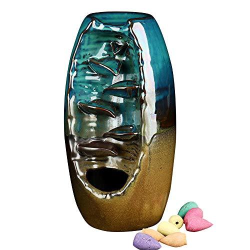 Keramik Räucherstäbchen Räuchergefäß Wasserfall Reflux Räuchergefäß Handarbeit Kegel Form Weihrauch Brenner Heimdeko Basteln Geschenke mit 20 Reflux Kegeln
