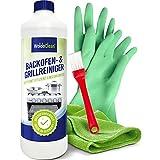 Backofenreiniger & Grillreiniger 500ml Gel mit Pinsel - Microfasertuch & Handschuh
