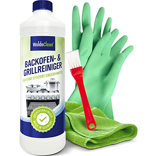 Backofenreiniger & Grillreiniger 500ml Gel mit Pinsel - Microfasertuch & Handschuhe