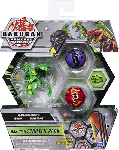 Bakugan 6058413 - Starter Pack mit 3 Armored Alliance Bakugan (Ultra Ventus Dragonoid, Basic Pyrus Trox, Basic Darkus Hydorous)