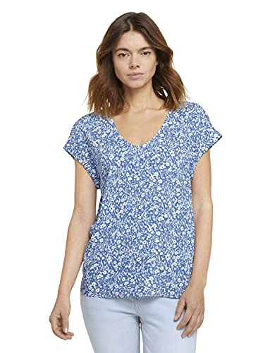 TOM TAILOR Denim Damen 1024993 Tunic Bluse, 26935-Mid Blue Flower Print, M