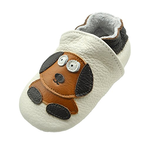 iEvolve Baby Leather Shoes Soft First Walker Shoes Crib Shoes Moccasins for Toddlers(White Dog, 6-12 Months)