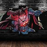 Cuadro Superman Hot Vision Comics XXL Impresiones En Lienzo 5 Piezas Cuadro Moderno En Lienzo Decoración para El Arte De La Pared del Hogar HD Impreso Mural Enmarcado