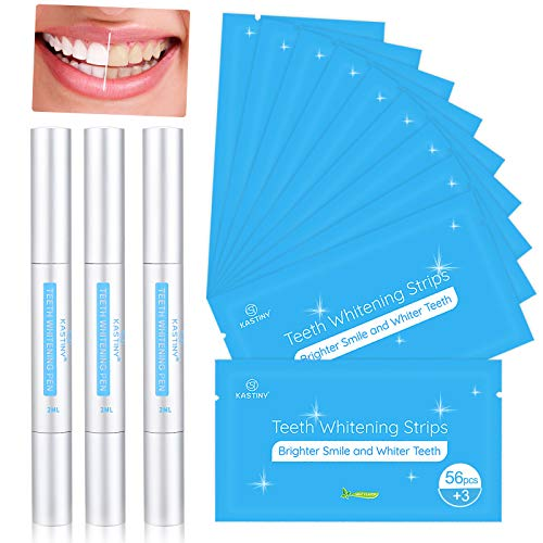 Blanqueador Dental, Kastiny 56 Tiras Blanqueadoras Dientes con 3 Gel de Blanqueamiento No Sensible, Teeth Whitening Kit Pen White Strips...