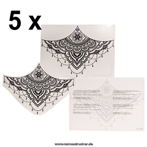 5 x Sternum Underboob Tattoo in schwarz - Sexy Unter Brust Tattoo Under Breast - No China! (5)