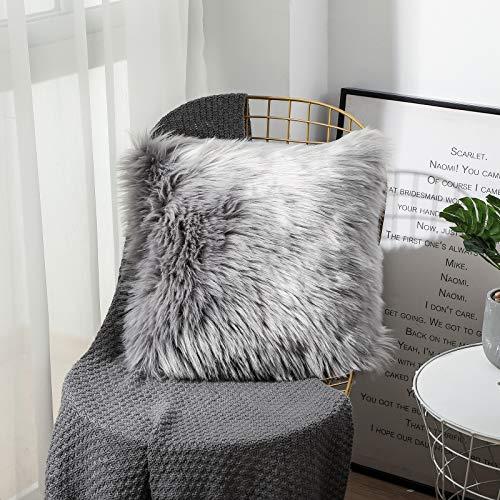 Sweetwill Flauschiger weicher quadratischer Kissenbezug, luxuriöser Kunstfell-Dekokissenbezug, dekorativer Kissenbezug, Plüsch, für Wohnzimmer, Sofa, Schlafzimmer, Auto
