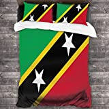 ZHYY 3-Piece Bedding Set Flag of Saint Kitts and Nevis Comfy Luxury Duvet Cover Set with 1 Quilt Set and 2 Pillowcase 86'x70'