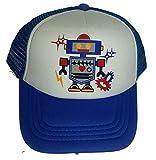 Toddler Robot Mesh Trucker Hat Cap Youth Snapback Royal Blue