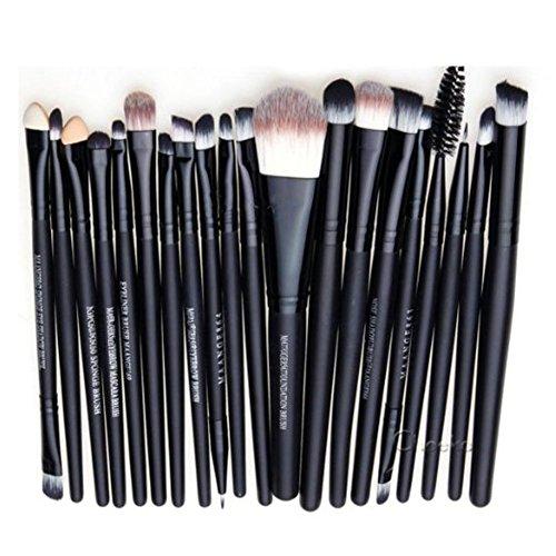 Leisial - Set di 20 pennelli da trucco, per applicazione di fondotinta, fard, trucco per le sopracciglia, gli occhi, colore: rosa e nero
