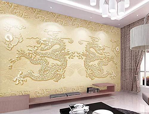 Papel Pintado 3D Patrón De Dragón En Relieve Beige Fotomurales Pared Dormitorio Papel Pintado Fotográfico Mural Decoración 200cmX140cm