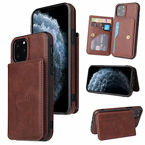 Molg Compatible con Funda iPhone 12 Pro MAX Cuero De La PU Cartera Magnética [Portatarjetas] [Cierre Magnético] con Soporte para Coche Antigolpes Caso-Marrón