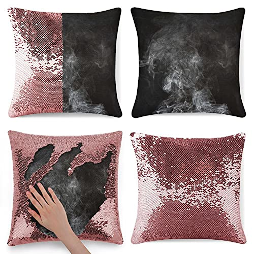 Tamengi Sequin Pillow Cover Zippe rGlitter Square Throw Pillow Covers Decorations for Sofas Armchairs Beds Floors Cars 16 inch Smoke