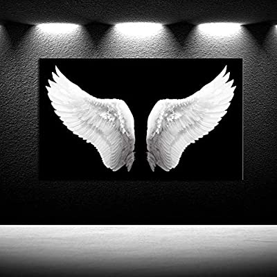 iKNOW FOTO Large Black and White Canvas Prints Angel Wings Wall Art Contemporary Art Painting for Living Room Picture Framed Art Work for Walls Home Decoration Ready to Hang Gift 24x40inch by iKNOW FOTO