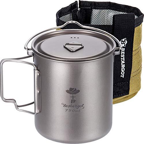 Bestargot Camping Titanium Topf Becher Tasse Outdoor mit Isolierbeutel, 750ml Titan Campinggeschirr Kann, Outdoor-Tasse Geschirr, Große Kapazität