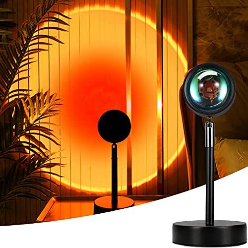 Mydethun Sunset Lamp,Sunset Proyección LED Proyección, Rotación 180°, Romántico Visual, Proyector de Puesta de Sol, USB, lámpara de pie Moderna, lámpara de Noche para salón (Rojo Atardecer)
