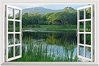 wall26 Peaceful Lake with Green Mountain and Trees Open Window Mural Wall Sticker - 24