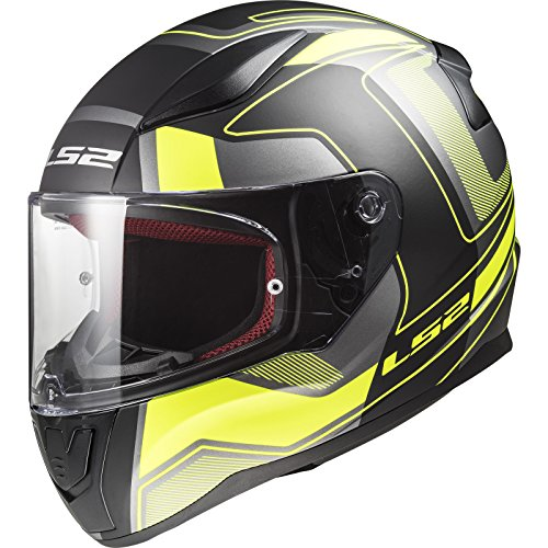 LS2 Helmets - FF353 Rapid – Carrera - Matt Black Hi-V Yellow - Single Visor Full Face Motorcycle Helmet (Size: X-Large – 59 cm)