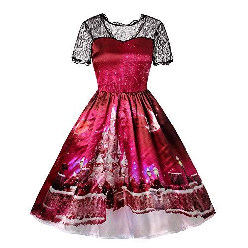 OverDose Damen Art- und Weiseüberraschungs-Art-Frauen-Weinlese-Spitze-Kurzschluss-Hülsen-Druck-Frohe Weihnachtsparty-Bar-Tanz-dünnes Elegantes Schwingen-Kleid(X-F-Rot,EU-34/CN-S)