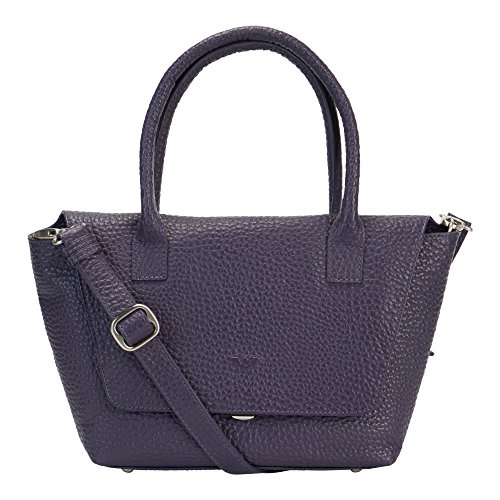 Voi Damen Kurzgrifftasche 21911 aus hochwertigen genarbten Leder Hirsch-Prägung Handtasche Purple 35x21x8cm