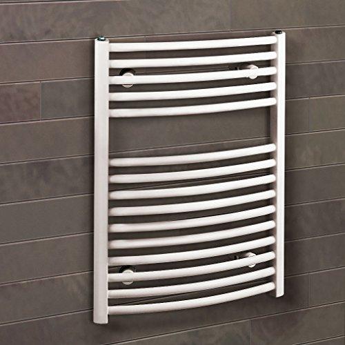 Bad-Heizkörper Florenz gebogen, 70x50 cm, 331 Watt Leistung, Anschluss unten, alpin-weiß, Handtuchhalter-Funktion, Der Renovierungsprofi
