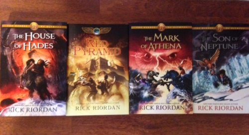 Rick Riordan Heroes of Olympus 4-book Set (The Red Pyramid, the Son of Neptune, the Mark of Athena, the House of Hades) Hardcover (Book Club Edition)