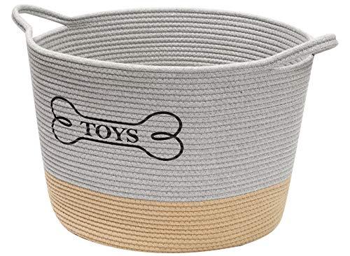 Geyecete perro caja de juguete almacenamiento tejido cuerda mascotas caja de juguete cestas para perros juguetes tejidos de cuerda de lavandería Cestas con asidas-gris/caqui