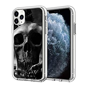 iPhone 12 Case iPhone 12 Pro Case Gun Skull Pattern Clear Design Transparent Plastic Back Case Cover Explosion-Proof