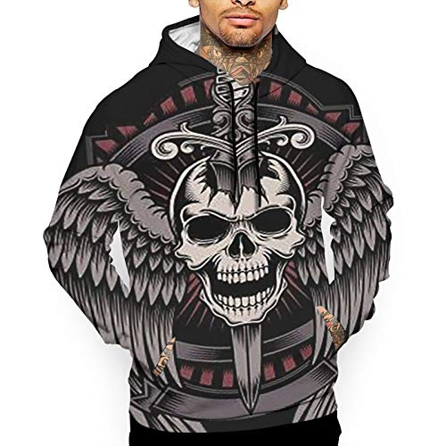 Vintage Style Military Army Skull and Wings Art Men's Outdoor Hooded Sweatshirt Thermal Winterwear Pullover White