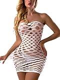 FasiCat Women's Mesh Lingerie Fishnet Babydoll Mini Dress Free Size Bodysuit White