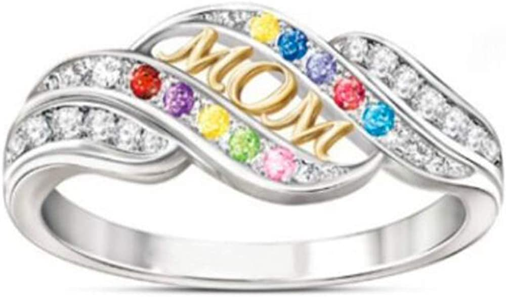 Jude Jewelers Mom Mother Ring Rhinestones White Gold Plated Wave Design Gold Letter