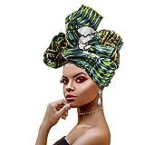 Ankara African Print Soft Headwraps Headband Long Hair Head Wrap Scarf Turban Tie Jersey Knit African head wraps (Ankara Fabric #1)