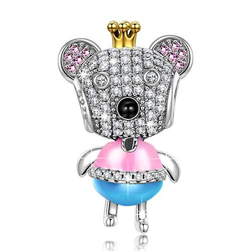 NINAQUEEN Charm Encaja con Pandora Oso Animal Regalos Mujer Originales Plata de Ley 925 Zirconia Abalorios para Niñas Madre Hija Esposa de Cumpleaños