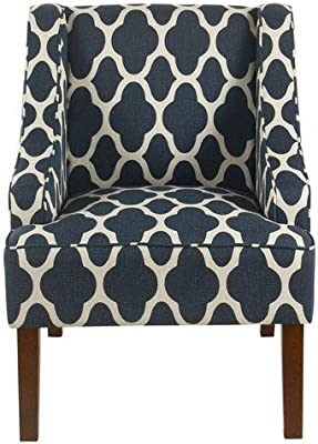 Meadow Lane Classic Swoop Arm Chair - Navy Geometric
