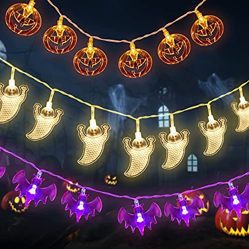 29.4ft 60LED Halloween String Lights, 3 Pack Halloween Decorations Indoor Outdoor Led Lights Battery Operated, Pumpkin Bat Ghost String Lights Party Decor Holloween Assecories, 20LEDs Each