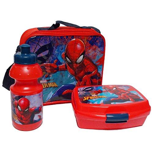 Spiderman Trinkflasche und Brotbox Set Lunchbox Marvel Kindergartentasche mit Brotzeitdose und Flasche Pausenset 48970