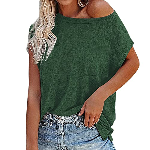 PRJN Camiseta Casual de Verano de Manga Corta para Mujer O-Cuello Túnica Suelta Tops Blusa Tops para Mujer Blusas de Manga Larga con Cuello Redondo Túnicas Camisetas de Lino de Manga Corta para Mujer