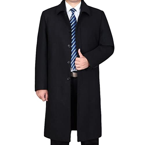 8ac66f3b994d Lavnis Men's Wool Jacket Casual Single Breasted Long Trench Coat Outerwear