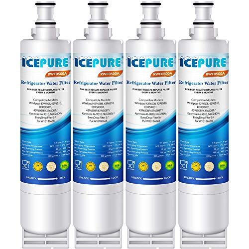 ICEPURE 4396508 Compatible with Whirlpool EDR5RXD1,4396510,4392857,EveryDrop Filter 5,PUR W10186668,Kenmore 46-9010, NLC240V,RWF0500A Refrigerator Water Filter Replacement 4PACK