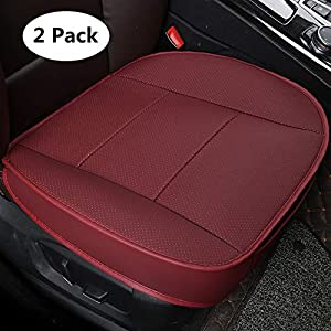 HCMAX Luxury Car Seat Cover Cushion Pad Mat Protector for Auto interior Supplies for Sedan SUV leather Edge Wrapping Protection Cover Without Backrest Pack Red
