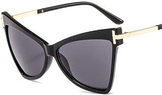 QPRER - Gafas De Sol,Montura Negra Moda con Lente Gris Forma De Ojo De Gato para Mujer Gafas De Sol con Personalidad Europea Americana Gafas De Sol De Playa Decorativas En Forma De T