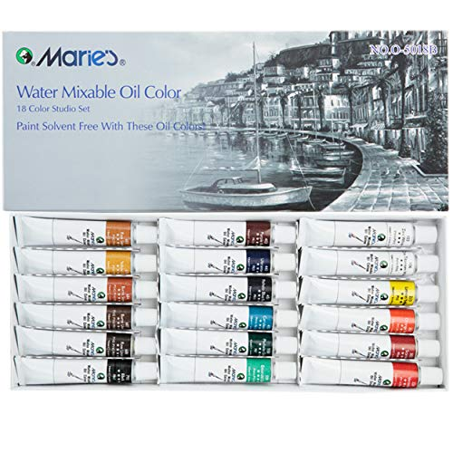 Marie's Water Soluble Oil Color Paint Set - 12ml Tubes - Solvent-Free - Assorted Colors - [Set of 18]