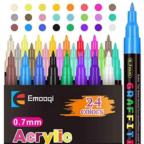 Acrylic Paint Pens,Emooqi Marker Pens for DIY Craft Projects Waterproof Permanent Paint Art Marker for Rock Painting, Ceramic, Glass,Canvas,Mug,Wood,Metal-0.7mm fine...
