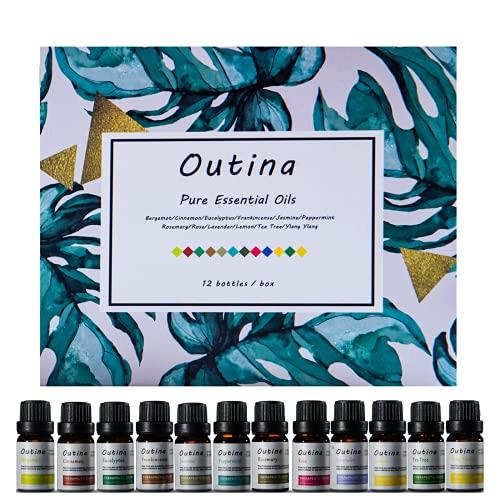 Outina Pure Essential Oil Set di oli essenziali vegetali naturali al 100% Bergamotto, cannella, eucalipto, incenso, gelsomino, menta, rosmarino, rosa, lavanda, limone, melaleuca, ylang ylang 10ml.