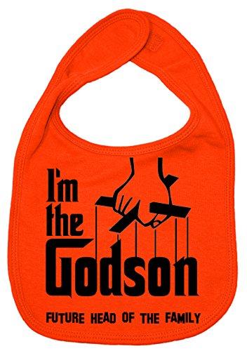 IIE Bavoir unisexe pour bébé avec inscription I'm The Godson, Future Head of Family Orange