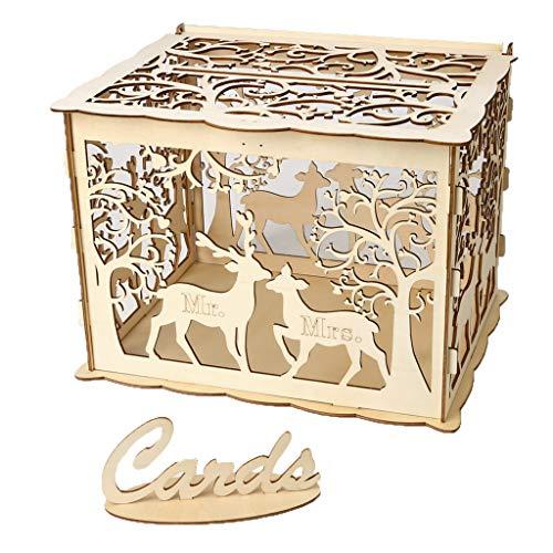 Geschenkbox DIY Holz Hochzeit Karte Box mit Schloss und Karte Zeichen Rustikale Hohl Geschenk Kartenhalter für Empfang Hochzeitstag Party Dekoration (A)