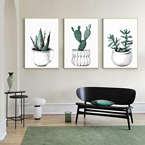 ArtbyHannah 3 Piece 16x24 Inch Framed Canvas Wall Art for Living Room or Bedroom Green Botanical product image